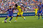 Mathieu Deplagne #17 of FC Cincinnati clears the ball from his own end during a MLS soccer game, Sunday, Aug 25th, 2019, in Cincinnati, OH. (Jason Whitman/Image of Sport)