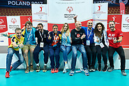 Katowice, Poland - 2017 September 03: Seminar workshops group pose to the picture (L-R) Raphael Rafal Loskot (SO Austria) and Massimo Winter (SO Germany) and Nemanja (SO Serbia) and Valeria Lippiello (SO Italy) and Christina Rodina (SO Russia) and Miroslaw Krogulec (Senior Manager Organizational Development and Sports Europe Eurasia Region Special Olympics) and Metehan Cengiz (SO Turkey) and Noemi Caccialupi (SO Italy) and Tobias Staebler (SO Germany) before Closing Ceremony during European Unified Volleyball Tournament 2017 at Spodek Hall on September 03, 2017 in Katowice, Poland.<br /> <br /> Adam Nurkiewicz declares that he has no rights to the image of people at the photographs of his authorship.<br /> <br /> Picture also available in RAW (NEF) or TIFF format on special request.<br /> <br /> Any editorial, commercial or promotional use requires written permission from the author of image.<br /> <br /> Image can be used in the press when the method of use and the signature does not hurt people on the picture.<br /> <br /> Mandatory credit:<br /> Photo by © Adam Nurkiewicz / Mediasport