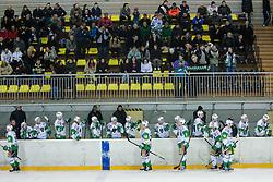 Players of Olimpija celebrate after scoring a goal during ice-hockey match between HK Playboy Slavija and HDD Telemach Olimpija in second game of Final at Slovenian National League, on April 8, 2013 at Dvorana Zalog, Ljubljana, Slovenia. (Photo By Matic Klansek Velej / Sportida.com)