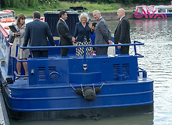 The Prince of Wales and  Duchess of Cornwall during a tour of the Olympic Park waterways  in London Wednesday, 13th June 2012.  Photo by: i-Images