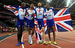 Great Britain's Men's 4x400m relay final team (left to right) Dwayne Cowan, Matthew Hudson-Smith, Martyn Rooney and Rabah Yousif celebrate winning bronze during day ten of the 2017 IAAF World Championships at the London Stadium.