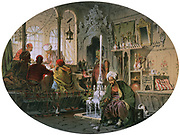 Souvenirs of the East: Turkish Coffee House', 1857. Amedeo Preziosi (1816-1882) Italian painter. Men smoking  and playing chess in window. In centre by doorway coffee is being prepared.  Turban Fez Foutain Ottoman