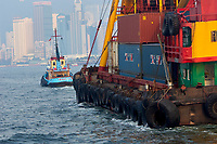 Detail of a Chinese barge being towed in harbour Hong Kong Hong Kong August 2008