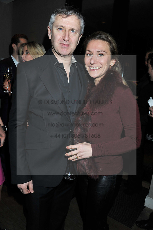 FRED MOSS and ANOUSCHKA MENZIES at a dinner hosted by Marlon & Nadya Abela at Cassis 232-236 Brompton Road, London to thank customers & friends for their custom held on 9th February 2012.