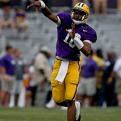 18 April 2009: LSU quarterback Russell Shepard (10) throws a pass during the 2009 LSU spring football game at Tiger Stadium in Baton Rouge, LA.