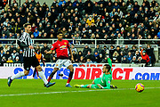 Marcus Rashford (#10) of Manchester United scores Manchester United's second goal (0-2) during the Premier League match between Newcastle United and Manchester United at St. James's Park, Newcastle, England on 2 January 2019.