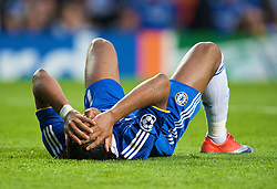 LONDON, ENGLAND - Wednesday, May 6, 2009: Chelsea's Didier Drogba looks dejected as Barcelona snatch an away goals victory in injury time during the UEFA Champions League Semi-Final 2nd Leg match at Stamford Bridge. (Photo by David Rawcliffe/Propaganda)