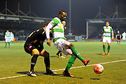 Yeovil Town's Francois Zoko holds the ball up during a Yeovil attack in the The FA Cup Third Round Replay match between Yeovil Town and Carlisle United at Huish Park, Yeovil, England on 19 January 2016. Photo by Graham Hunt.