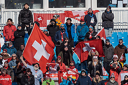 21.02.2018, Phoenix Snow Park, Bokwang, KOR, PyeongChang 2018, Freestyle, Ski Cross, Herren, im Bild Fans Schweiz // Supporters of Switzerland during the men's Freestyle Ski Cross competition of the Pyeongchang 2018 Winter Olympic Games at the Phoenix Snow Park in Bokwang, South Korea on 2018/02/21. EXPA Pictures © 2018, PhotoCredit: EXPA/ Johann Groder