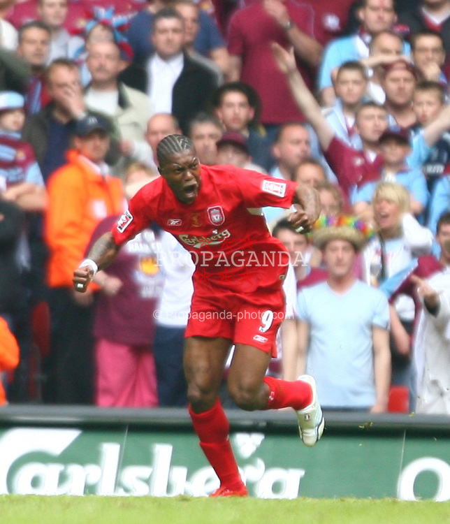 CARDIFF, WALES - SATURDAY, MAY 13th, 2006: Liverpool's Djibril Cisse celebrates scoring the first goal against West Ham United during the FA Cup Final at the Millennium Stadium. (Pic by David Rawcliffe/Propaganda)
