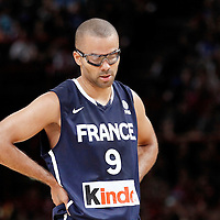 15 July 2012: Tony Parker of Team France looks dejected during a pre-Olympic exhibition game won 75-70 by Spain over France, at the Palais Omnisports de Paris Bercy, in Paris, France.