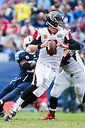 NASHVILLE, TN - OCTOBER 25:  Matt Ryan #2 of the Atlanta Falcons rolls out to pass during a game against the Tennessee Titans at Nissan Stadium on October 25, 2015 in Nashville, Tennessee.  The Falcons defeated the Titans 10-7.  (Photo by Wesley Hitt/Getty Images) *** Local Caption *** Matt Ryan