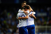 "MALAGA, SPAIN - DECEMBER 09:  Ignacio Camacho of Malaga CF celebrates after scoring the first goal for Malaga CF with his team mate Juan Pablo Anor ""Juanpi"" of Malaga CF during La Liga match between Malaga CF and Granada CF at La Rosaleda Stadium December 9, 2016 in Malaga, Spain.  (Photo by Aitor Alcalde Colomer/Getty Images)"