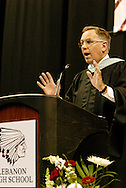 Thomas R. Olson, a 1976 graduate, delivers the commencement address during the Lebanon High School graduation at the Nutter Center in Fairborn, Saturday, May 28, 2011.