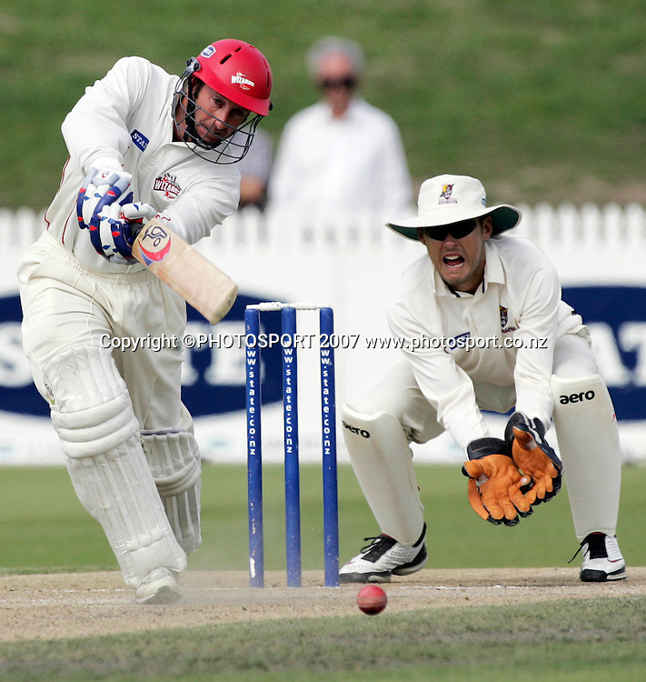 Canterbury's Chris Harris plays a shot during the State Championship Cricket Final between Northern Districts and Canterbury at Seddon Park, Hamilton, New Zealand on Sunday 25 March 2007. Photo: Hagen Hopkins/PHOTOSPORT<br /><br /><br /><br />250307