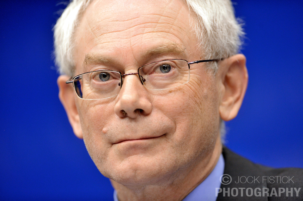 Herman Van Rompuy, Belgium's prime minister, and the first president of Europe, listens during the press conference following the European Union Summit at the EU headquarters in Brussels, Belgium, on Thursday, Nov. 19, 2009. European leaders set divisions aside today as they chose their first-ever European Union president to represent the 27-nation bloc on the world stage. (Photo © Jock Fistick)