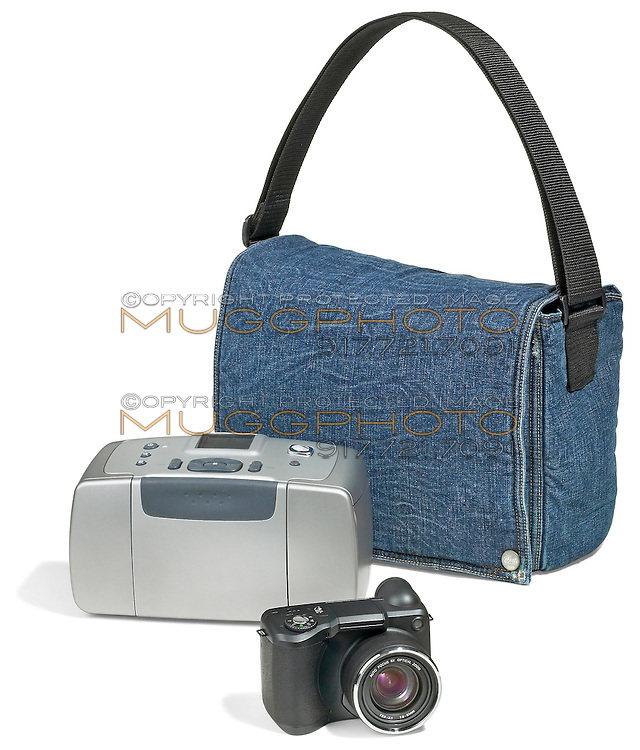hp travel printer with denim bag and hp digital camera