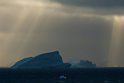 On the way to Antarctica, sailing by the South Orkney Islands. In the evening dark clouds came in but with the near 24 hour sun, light beams broke threw the clouds.