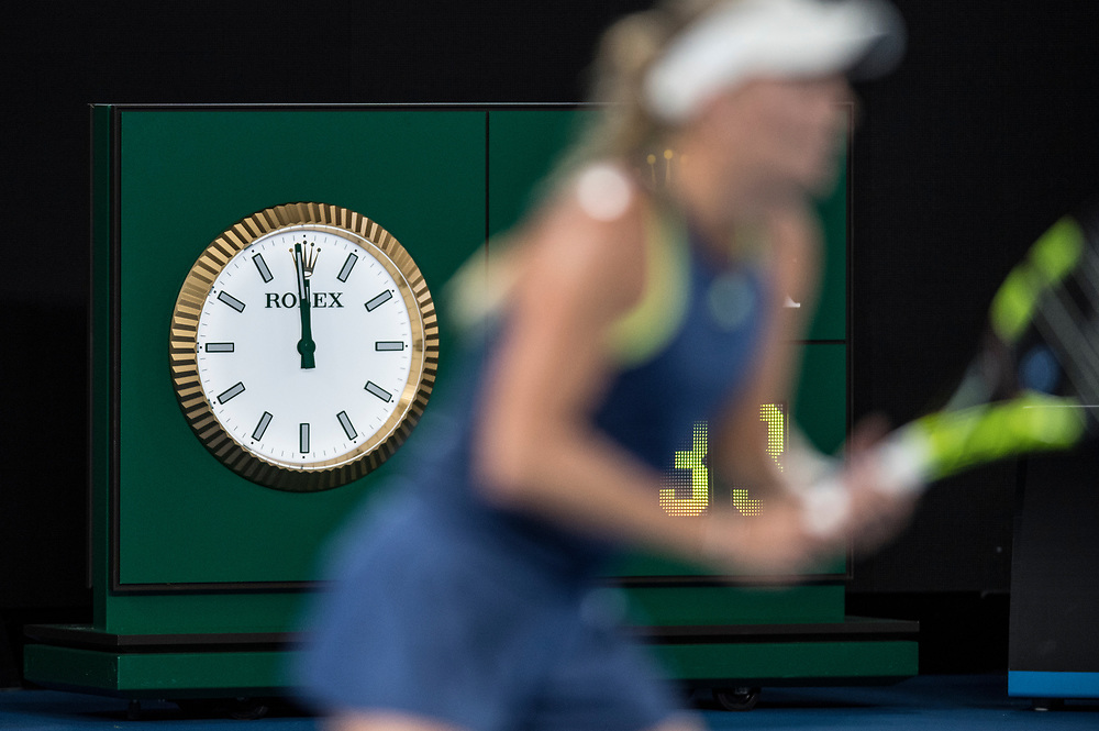 A detailed view of a Rolex clock on day nine of the 2018 Australian Open in Melbourne Australia on Tuesday January 23, 2018.<br /> (Ben Solomon/Tennis Australia)