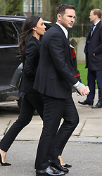 Frank Lampard and Christine Bleakley attend a memorial service today held at St Luke's Church in Chelsea for former footballer Ray Wilkins.<br />