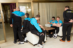 Players during visit in the rooms of Slovenia Men Handball team during 5th day of 10th EHF European Handball Championship Serbia 2012, on January 19, 2012 in Hotel Srbija, Vrsac, Serbia.  (Photo By Vid Ponikvar / Sportida.com)