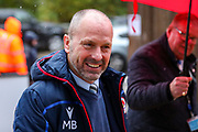 Reading Manager Mark Bowen arrives at the stadium ahead of the EFL Sky Bet Championship match between Reading and Luton Town at the Madejski Stadium, Reading, England on 9 November 2019.