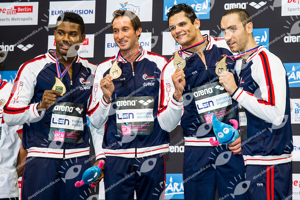 France Gold Medal<br /> 4x100m Freestyle Men Final<br /> 32nd LEN European Championships <br /> Berlin, Germany 2014  Aug.13 th - Aug. 24 th<br /> Day06 - Aug. 18<br /> Photo G. Scala/Deepbluemedia/Inside