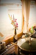 Flwer vase on boat, Lopez Island, San Juan Islands, Washington State