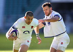 Mike Brown and Danny Care of England during an open training session at Twickenham - Mandatory by-line: Robbie Stephenson/JMP - 16/02/2018 - RUGBY - Twickenham Stadium - London, England - England Rugby Open Training Session