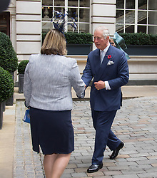 Rosewood Hotel, Holborn, London, November 1st 2016. His Royal Highness  Charles The Prince of Wales accompanied by Camilla The Duchess of Cornwall arrive at the Rosewood Hotel in Holborn, London, to greet the President of Colombia Juan Manuel Santos, who is on a State Visit to Britain, and his wife Maria Clemencia Rodriguez de Santos before travelling with them to their ceremonial welcome At Horse Guargrds Parade by Her Majesty The Queen. PICTURED: Prince Charles is welcomed to the Rosewood Hotel.