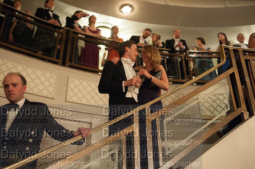 ALEX COLERIDGE; DAVINA COLLAS The Royal Caledonian Ball 2013. The Great Room, Grosvenor House. Park lane. London. 3 May 2013.