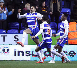 Reading's Hal Robson-Kanu celebrates - Photo mandatory by-line: Robbie Stephenson/JMP - Mobile: 07966 386802 - 16/03/2015 - SPORT - Football - Reading - Madejski Stadium - Reading v Bradford City - FA Cup - Quarter Final - Replay