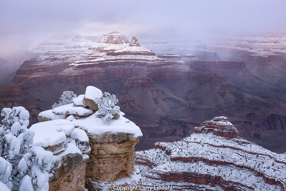 Grand Canyon, Mather Point, winter, snow, Arizona