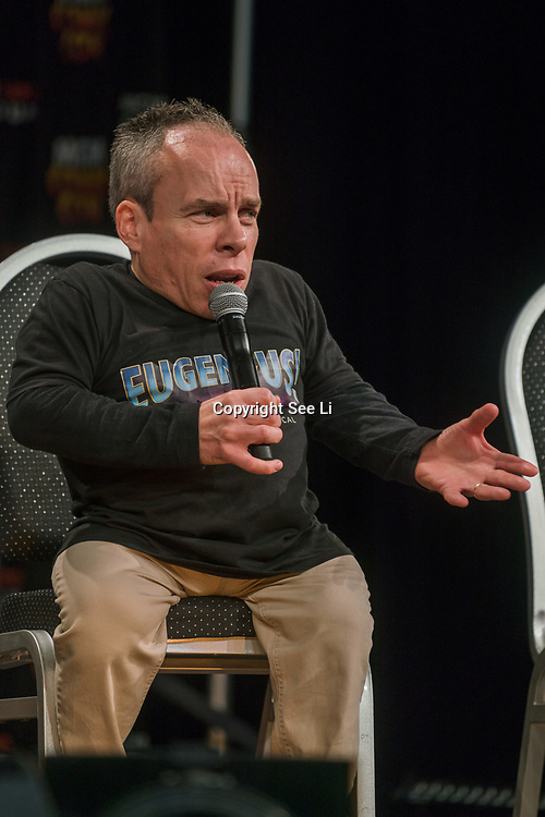 London, England, UK. 29th October 2017. Speaker Warwick Davis talk and question at the MCM London Comic Con at Excel London.