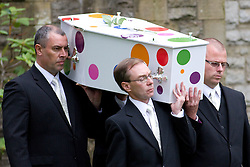 © Licensed to London News Pictures. 19/07/2012. Oldham , UK . The funeral of 2 year old Jamie Heaton , who was killed in a blast in his home on 26/06/2012 . Jamie Heaton's coffin being carried from the church after the service . Photo credit : Joel Goodman/LNP