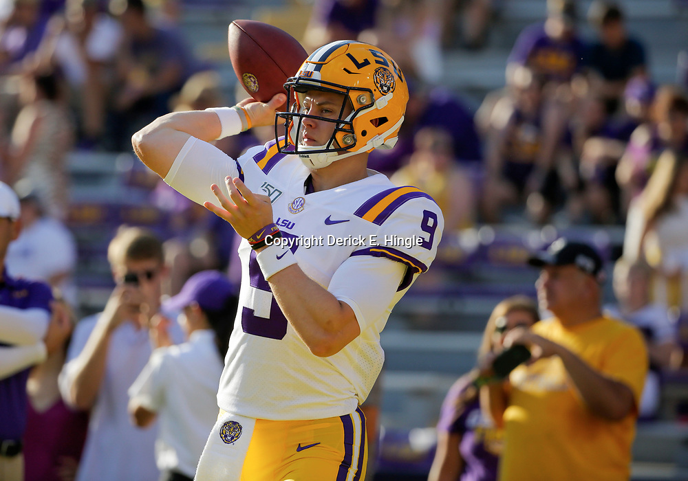 Aug 31, 2019; Baton Rouge, LA, USA; LSU Tigers quarterback Joe Burrow (9) during warm ups prior to kickoff against the Georgia Southern Eagles at Tiger Stadium. Mandatory Credit: Derick E. Hingle-USA TODAY Sports