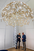 Nadja Swarovski and Tord Boontje -  Swarovski presents 'Luminous Reflections' including a chandelier with the world's first-ever unfaceted crystal components - The Design Frontiers exhibition at Somerset house, part of the London Design Festival.