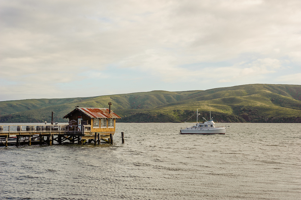 Nick's Cove, State Route One<br /> Marshall, CA, Tomales Bay, boat shack