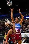 Te Paea Selby-Rickit of the Steel shoots over Jane Watson of the Tactix during the ANZ Premiership Netball match, Tactix v Steel, Horncastle Arena, Christchurch, New Zealand, 15th May 2019.Copyright photo: John Davidson / www.photosport.nz