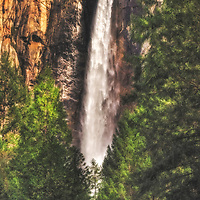 Intimate view of Bridalveil Falls through trees in spring, Yosemite National Park, California.