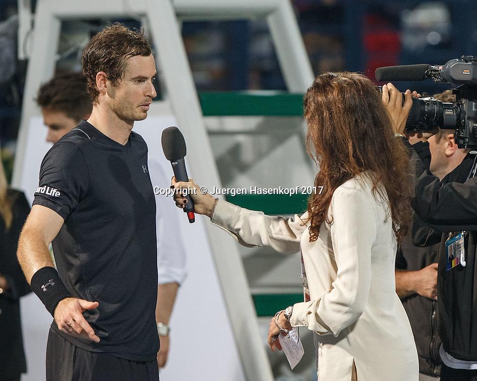 ANDY MURRAY (GBR) im Gespraech mit Annabel Croft,TV Interview,<br /> <br /> <br /> Tennis - Dubai Duty Free Tennis Championships - ATP -  Dubai Duty Free Tennis Stadium - Dubai -  - United Arab Emirates  - 1 March 2017. <br /> &copy; Juergen Hasenkopf