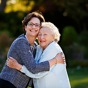 Dr. Harriet Borofsky, MD, is a Radiologist for Mills Peninsula Health Services hugs her neighbor Zelda Levin in San Mateo, CA on September 16, 2014.<br /> Copyright Paul Kitagaki Jr &copy; 2014
