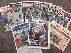 The front pages of today's newspapers the day after a terrorist attack where police officer Keith Palmer and three members of the public died and the attacker was shot dead.