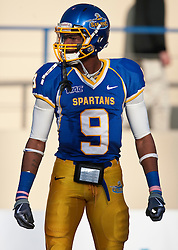 October 10, 2009; San Jose, CA, USA;  San Jose State Spartans wide receiver Marquis Avery (9) before the game against the Idaho Vandals at Spartan Stadium.  Idaho won 29-25.