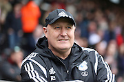Cardiff City manager, Russell Slade smiling during the Sky Bet Championship match between Fulham and Cardiff City at Craven Cottage, London, England on 9 April 2016. Photo by Matthew Redman.