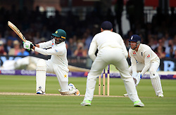 Pakistan's Haris Sohail hits a six during day four of the First NatWest Test Series match at Lord's, London.
