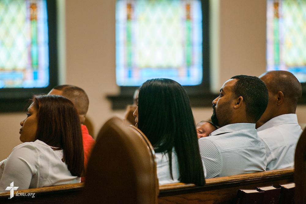 Hispanic parishioners listen during worship on, Oct. 1, 2016, at St. John's Lutheran Church in Beardstown, Ill. LCMS Communications/Erik M. Lunsford