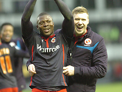 Reading Yakubu celebrtes with Team Mate Pavel Pogrebnyak, after getting through to the quarter Finals of the FA Cup and Beating Derby 1-2 Derby County v Reading, FA Cup 5th Round, The Ipro Stadium, Saturday 14th Febuary 2015