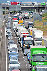&copy; Licensed to London News Pictures. 20/07/2018<br /> DARTFORD, UK.<br /> Frantic Friday traffic madness on the M25 in Dartford,Kent.  Anti clock-wise traffic very heavy.<br /> Photo credit: Grant Falvey/LNP