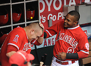 Erick Aybar bounces a gum ball off the head of Mike Trout before the Angels' game against the Rangers Saturday April 25 at Angel Stadium.